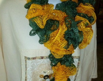 Free Shipping Gold and Green Ruffled Scarf