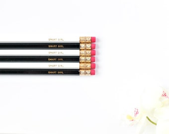 Set of Six White and Black Gold Foil Pencils, Quote Pencils, Engraved Pencils, Gifts for Her, Funny Pencils, Boss Gift, Custom Pencils