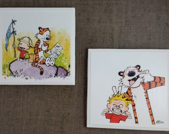 Calvin and Hobbes Ceramic Tile Coasters Set of 4