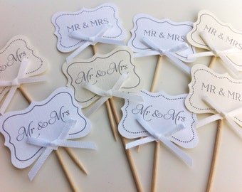 Wedding Cupcake Toppers / Food Picks / Canapes - Mr & Mrs / Just Married / I Do, Love / Happily Ever After