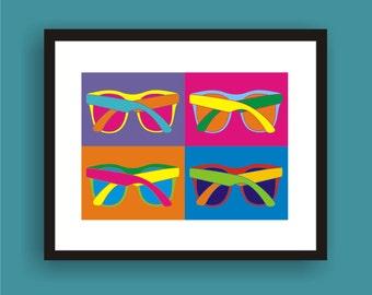 Sunglasses - Pop Art Original Print by C Wiedenheft  comes with a white mat and ready to frame.
