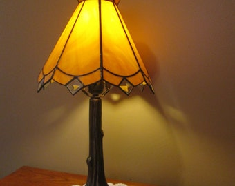 Stained Glass Lamp Shade - Caramel Brown / Neutral Color