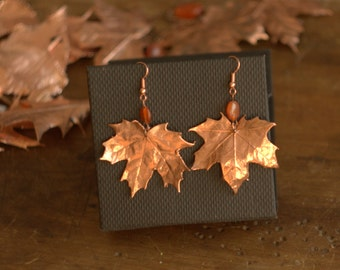Maple leaves earrings, electroformed natural leaf,electroforming,botanical jewelry, electroplated, electroform,fairy canadian,leaf earrings