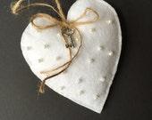 Felt Heart Ornament, Handmade Felt Ornament, Gift Tag, Pearls, Embroidery, Shabby Chic, Felt Christmas Ornament