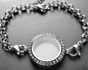 Medium Silver Floating Locket Bracelet- (25mm)-Crystal Face-Stainless Steel-Chain Included-Gift Idea for Women