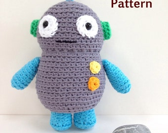 Amigurumi crochet pattern, digital PDF, robot soft toy pattern