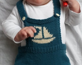 Baby onesie, Baby romper, knitted baby clothes,  photo prop in teal Green Merino wool with cream sailboat motif - made to order, 6-12 months