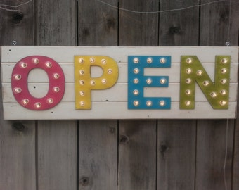 open sign large plank style 4 lighted letters marquee sign horizontal designed by you spell it out