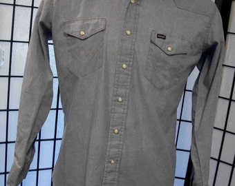 Wrangler mens blue pearl snap western shirt
