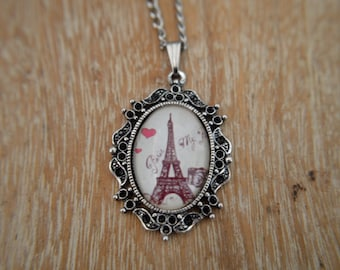 Paris, Eiffel Tower, vintage, romantic cameo necklace