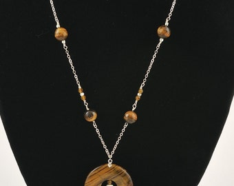 tiger eye donut silver/ gold chain necklace