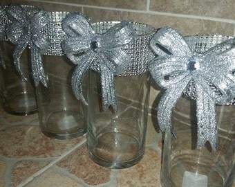 Rhinestone Vase,Wedding centerpieces,cylinder vases, rhinestone wedding centerpieces,BLING centerpieces vase,silver centerpiece