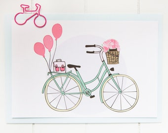 Postcard - Happy spring ! - Bicycle with flowers and a cat - Stationery - Illustration - Girls/Girly - Child- Pink / Mint / Pastel