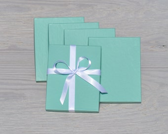 10 Turquoise 7x5.5x1 Gift Jewelry Necklace Boxes with Cotton Fill Invitation Box Aqua Robins Egg Blue