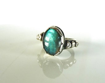 Handcrafted sterling silver ring with labradorite mis. 7.25 USA