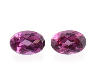 Rhodolite Garnet Oval Cut Set of 2 Cut Loose Gemstones 1A Quality 6x4mm TGW 0.90 cts.