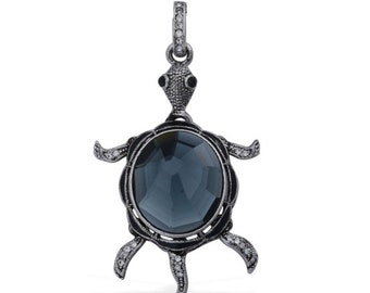Turtle Pendant with Articulated Legs and Tail Black and White Austrian Crystal, Grey Glass in Dark Silver-tone Without Chain