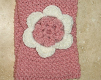 Pink Ear Warmer / Headband in knit with flower