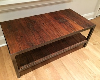 Rustic two tier reclaimed wood coffee table