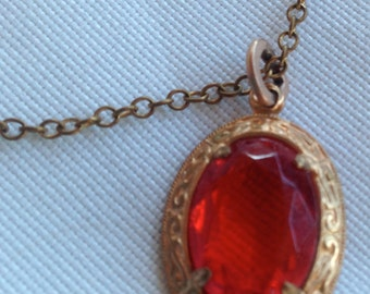 Vintage Czech or Austrian Ruby Red Glass Rhinestone Pendant Necklace