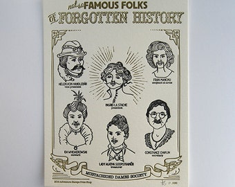 """Limited Edition Letterpress Print — Mustachioed Dames Society (8.5 x 11"""")"""