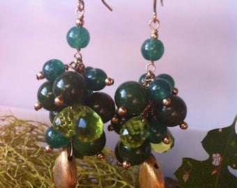 Forest green cluster earrings