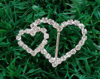 50 PCS Wedding Heart Buckles, Wholesale Crystal Rhinestone Heart Slider Buckles Perfect for DIY Wedding Invitations and More, Buckle, A12