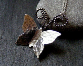Silver Butterfly hammered Necklace with Beaded detail  Sterling Rustic Butterfly