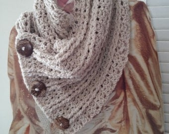 "40"" Chunky over sized cowl with 2 inch coconut buttons"