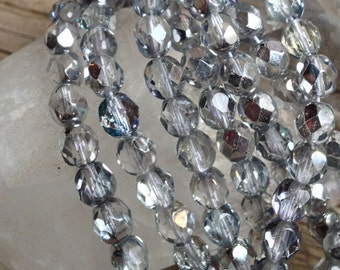 Czech 6 mm Fire Polish - Crystal with Half Silver Coating - 50 Beads
