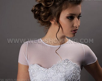 Stretch bridal bolero stretch tulle - transparent bolero jacket for wedding E1404 Tight bolero Wedding Top Tulle