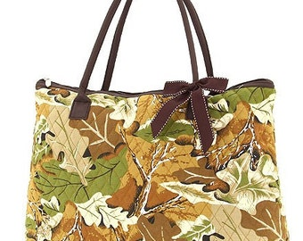 Quilted Camouflage Large Tote Bag Monogrammable Personalized