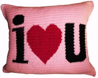 I Heart U Crochet Pillow