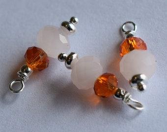 """BC-095 """"Peach Blossums"""" beaded charm"""