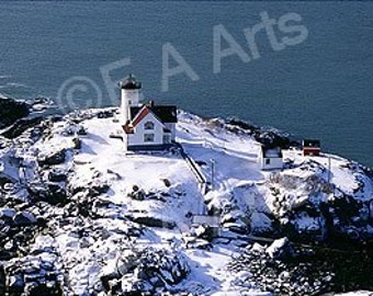 Nubble Light York Maine Winter Aerial Maine Panoramic Photography Maine Art Print by Maine Photographer Paul Vose US MADE