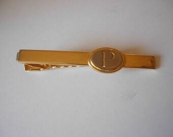 "1960s Gold ""P"" Art Deco Tie Bar"