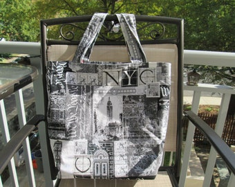 A Large New York/London Reversible Tote Bag