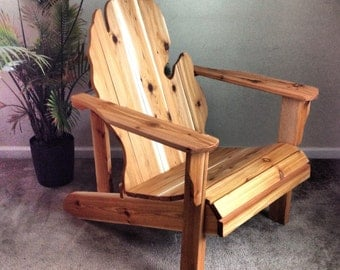 Michigan Adirondack Chair Handmade Wood Furniture Rustic patio Cedar Adirondack Chair Michigan State Glove finished - LOCAL PICKUP ONLY