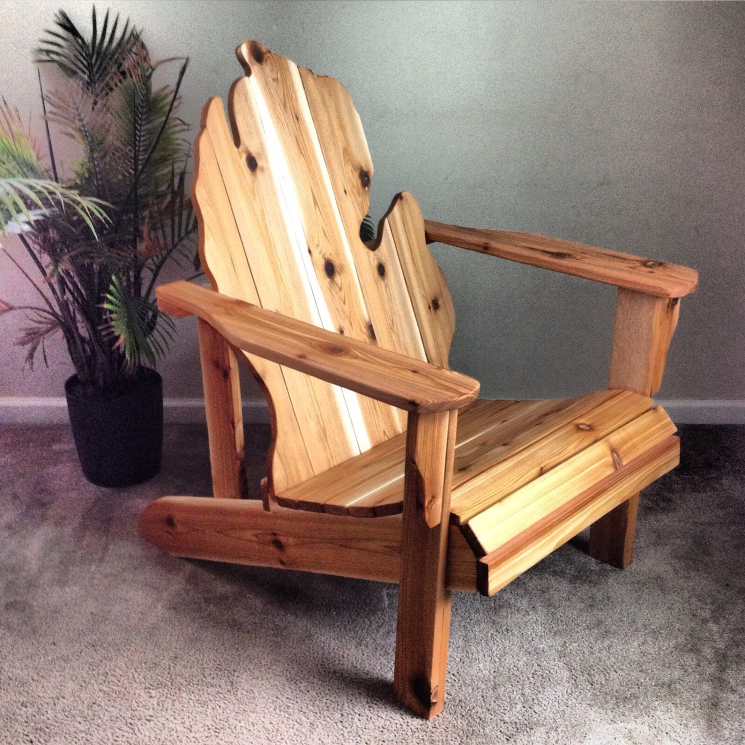 Michigan adirondack chair handmade wood furniture rustic patio What are chairs made of