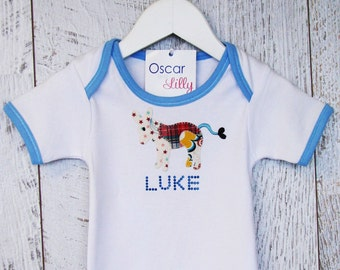 Babies Personalised Animal Patchwork Tee