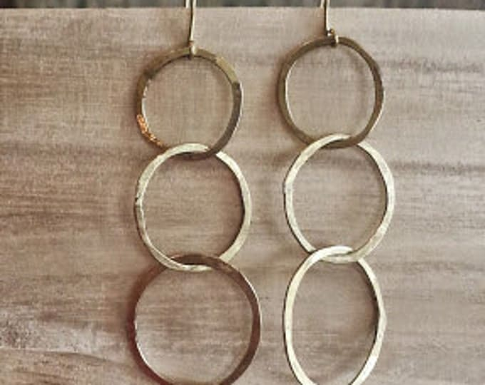 Triple  Hoop Hammered Earrings, Hoop Earrings, Gold Earrings, Gold Hoop Earrings, Hand Soldered Earrings, Brushed Gold Earrings