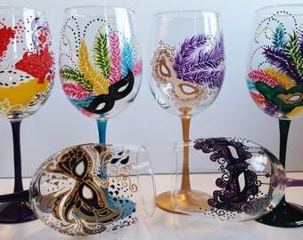 Mardi Gras - Hand Painted 19oz Masquerade Masks Wine Glasses (set of 6)