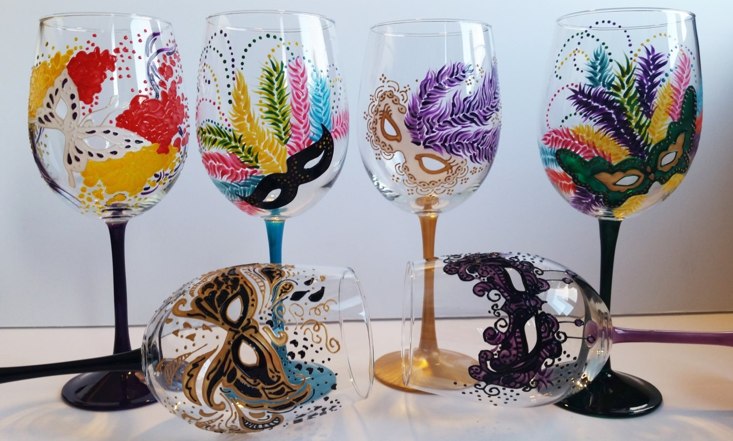Wine glasses hand painted mardi gras masquerade masks for Hand painted glassware