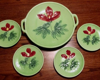 Antique Zell Germany Majolica Platter and Plates Set Basket Weave Handles Dishes