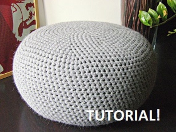 Crochet Ottoman : CROCHET PATTERN Diy Tutorial XL Large Crochet Pouf Poof, Ottoman ...