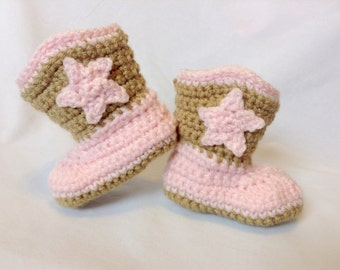 Crochet Tan and Pink Baby Cowboy Boots/Infant Baby Booties/Halloween Costume/Baby Shower Gift/Photography Prop