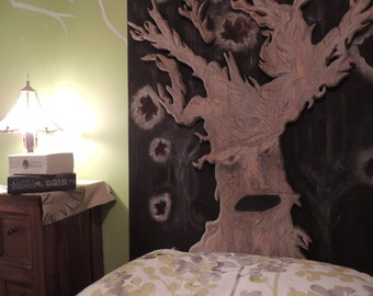 Weirwood Heart Tree timber bed headboard/wall hanging - Hand carved Game of Thrones piece.