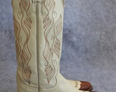 Vintage Justin tall shaft leather and lizard detail cowboy boots-5.5B