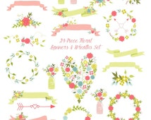 80% OFF SALE Floral Clipart, Floral Banners, Wedding Clipart, Save the Date Clipart, Laurels