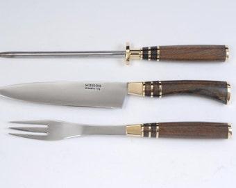 Barbacue Set Knife Fork & Sharpener. Carving Steak. Mission Argentina. Gaucho Knives
